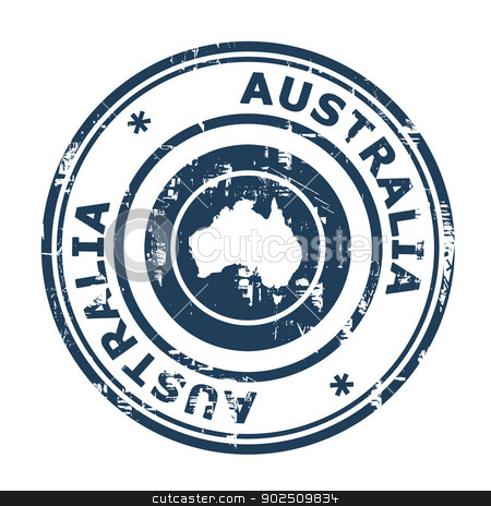 Australia passport stamp stock photo, Australia passport stamp isolated on a white background. by Martin Crowdy