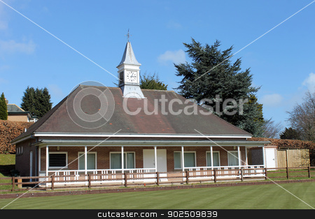 Bowling green pavilion stock photo, Bowling green pavilion with blue sky background, Scarborough, England. by Martin Crowdy