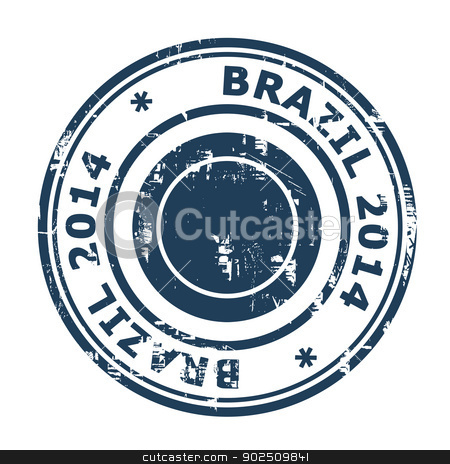 Brazil 2014 stamp stock photo, Brazil 2014 stamp isolated on a white background. by Martin Crowdy
