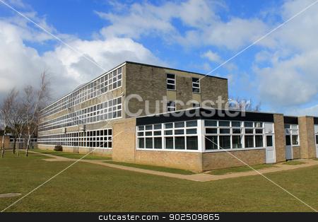 English school building stock photo, Exterior of English secondary school building, Scarborough. by Martin Crowdy