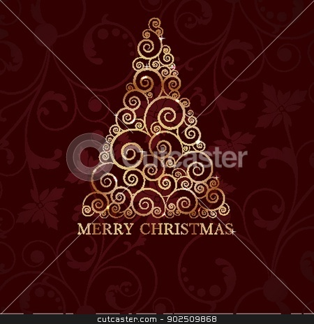 Christmas card with holiday elements. stock photo, Christmas card with holiday elements: tree, bell,holly berry by Maria Cherevan