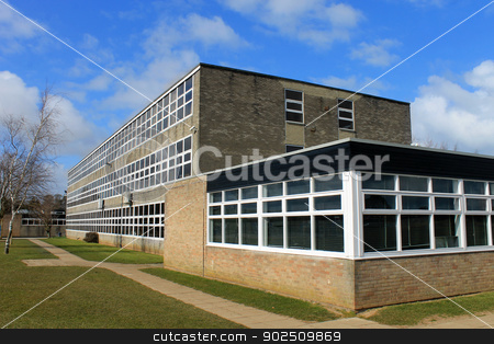 Exterior of school building stock photo, Exterior of secondary school building, Scarborough, England. by Martin Crowdy