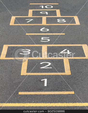 Hopscotch on playground stock photo, Hopscotch game painted on a school playground. by Martin Crowdy