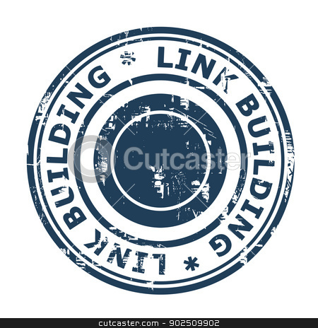 Link Building SEO concept stamp stock photo, Link Building SEO concept stamp isolated on a white background. by Martin Crowdy