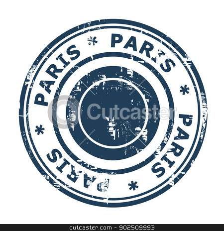 Paris travel stamp stock photo, Paris travel stamp isolated on a white background. by Martin Crowdy