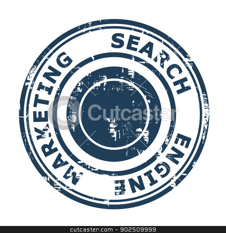 Search Engine Marketing concept stamp stock photo, Search Engine Marketing concept stamp isolated on a white background. by Martin Crowdy