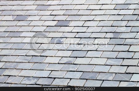 Slate tiled roof stock photo, Background of gray or gey slate tiled roof. by Martin Crowdy
