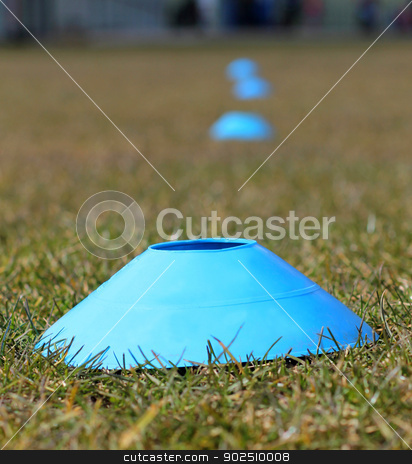 Sports training cones on soccer pitch stock photo, Sports training cones on soccer or football pitch by Martin Crowdy