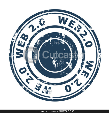 Web 2.0 stamp stock photo, Web 2.0 stamp isolated on a white background. by Martin Crowdy