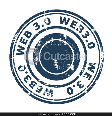 Web 3.0 stamp stock photo, Web 3.0 stamp isolated on a white background. by Martin Crowdy