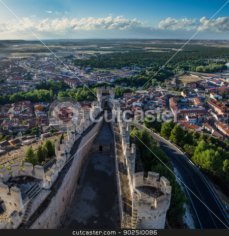 Penafiel Castle, Valladolid, Spain stock photo, Penafiel Castle, Valladolid, Spain created in the 10th century and located at the Hill. by Homydesign