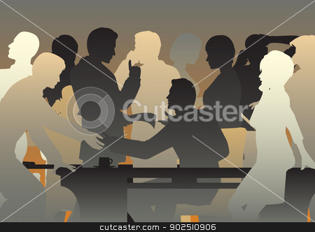 Crowded office stock vector clipart, Editable vector silhouettes of people in a busy office or meeting by Robert Adrian Hillman