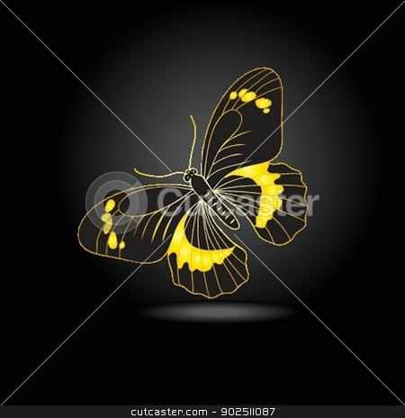 Beautiful fairy gold butterfly with shadow stock photo, Beautiful gold butterfly with shadow by Maria Cherevan
