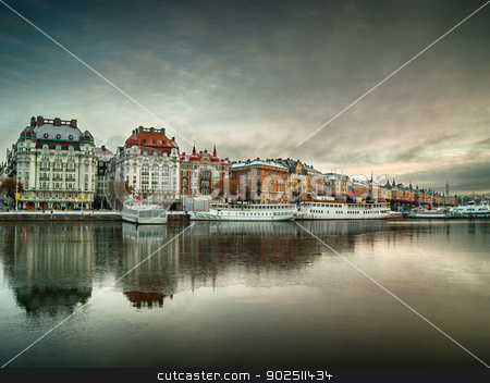 Stockholm view stock photo, View over Stockholm, Sweden at dawn by Kalin Eftimov