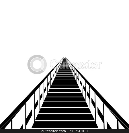 Bridge stock photo, A wooden ferry. Black and white illustration on a white background. by Sergey Skryl