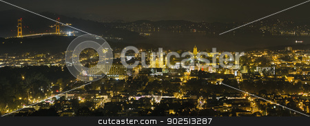 San Francisco Cityscape with Golden Gate Bridge stock photo, San Francisco Cityscape with Golden Gate Bridge Night Scene Panorama by Jit Lim