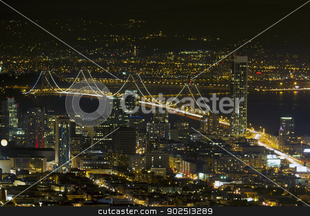 San Francisco Oakland Bay Bridge at Night stock photo, San Francisco City Skyline with Oakland Bay Bridge Night Scene by Jit Lim