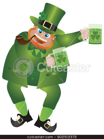 St Patricks Day Leprechaun with Beer stock vector clipart, St Patricks Day Irish Leprechaun with Hat and Smoking Pipe Holding Two Glasses of Green Beer Isolated on White Background Illustration by Jit Lim