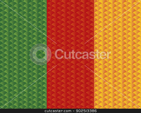 Chinese Japanese Tri Color Fish Scale Pattern stock vector clipart, Chinese Japanese Asian Gold Fish Scale Fabric Textile 3 Colors Pattern Background Illustration by Jit Lim