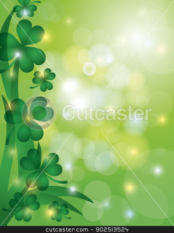 Shamrock Leaves with Bokeh Background Illustration stock vector clipart, St Patricks Day Shamrock Leaves with Sparkles and Bokeh Background Illustration by Jit Lim