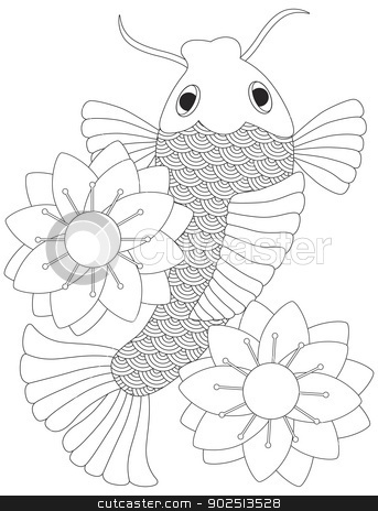 Japanese or Chinese Koi Fish Line Art stock vector clipart, Japanese Koi Fish or Chinese Carp with Lotus Flower Line Art  Illustration Isolated on White Background by Jit Lim