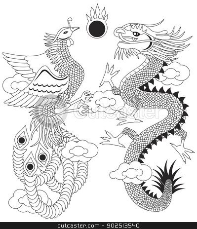Dragon and Phoenix with Clouds Outline Illustration stock vector clipart, Dragon and Phoenix Symbols for Chinese Wedding with Flaming Ball Clouds Outline Illustration Isolated on White Background by Jit Lim