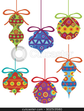 Christmas Ornaments with Tribal Motifs stock vector clipart, Christmas Tree Ornament with Bright Colorful Tribal Motifs Illustration Isolated on White Background by Jit Lim