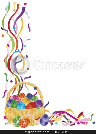 Easter Eggs Basket Confetti Border Illustration  stock vector clipart, Colorful Happy Easter Day Eggs Basket in Confetti Border Illustration on White Background by Jit Lim