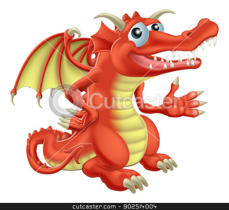 Red Dragon stock vector clipart, Drawing of a cute happy red dragon character by Christos Georghiou