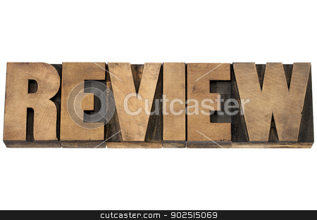 review typography in wood type stock photo, review word typography - isolated text in vintage letterpress wood type printing blocks by Marek Uliasz