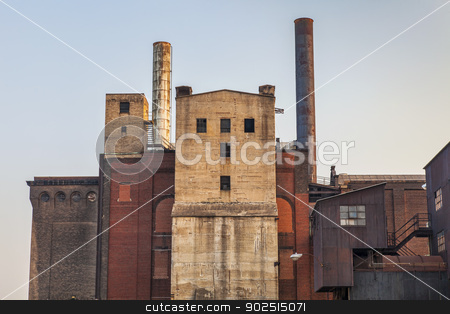old power plant building stock photo, old power plant building with brick, concrete and metal walls by Marek Uliasz