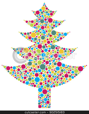 Christmas Tree Silhouette with Colorful Dots stock vector clipart, Christmas Tree Silhouette with Bright Colorful Polka Dots Pattern Illustration Isolated on White Background by Jit Lim