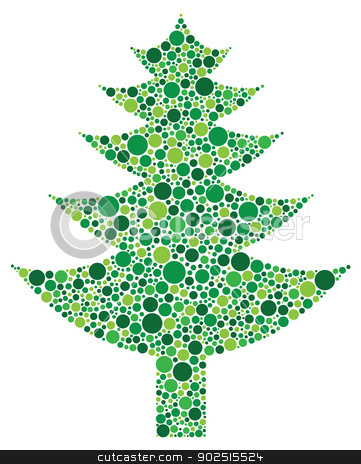 Christmas Tree Silhouette with Dots Pattern stock vector clipart, Christmas Tree Silhouette with Polka Dots Pattern Illustration Isolated on White Background by Jit Lim
