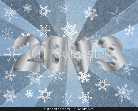 2013 New Year Numerals in Silver Background stock vector clipart, 2013 New Year Numerals in 3D and Snowflakes Silver Rays Textured Background Illustration by Jit Lim