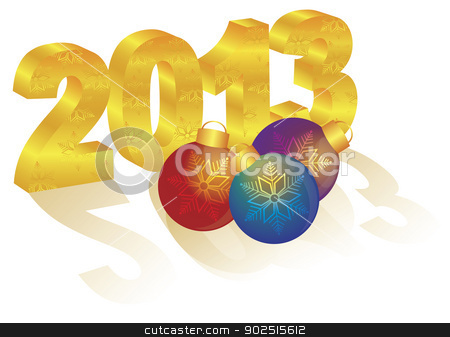 2013 New Year 3D Gold Numeral Ornaments stock vector clipart, 2013 Happy New Year 3D Gold Numbers and Colorful Ornaments with Long Shadows Isolated on White Background by Jit Lim