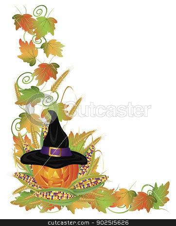 Halloween Pumpkin Jack-O-Lantern and Vines Border Illustration stock vector clipart, Happy Halloween Carved Pumpkin Jack-O-Lantern Scarecrow with Leaves and Twine Border Illustration by Jit Lim