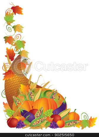 Thanksgiving Cornucopia Vines Border Illustration