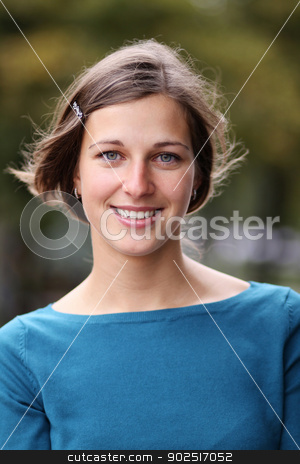 emotional portrait of a cheerful girl stock photo, emotional portrait of a cheerful girl. Outdoor portrait  by andersonrise