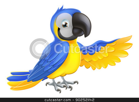Cute blue and yellow parrot stock vector clipart, A blue and yellow macaw parrot pointing or showing something with his wing by Christos Georghiou