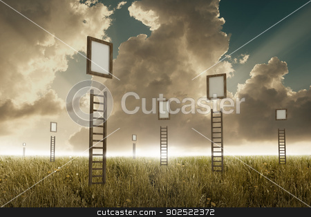 Stairway to sky stock photo, Many stairways in a meadow to suspended frame by Giordano Aita