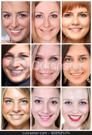 Collage beautiful young women stock photo, Collage beautiful young women by andersonrise