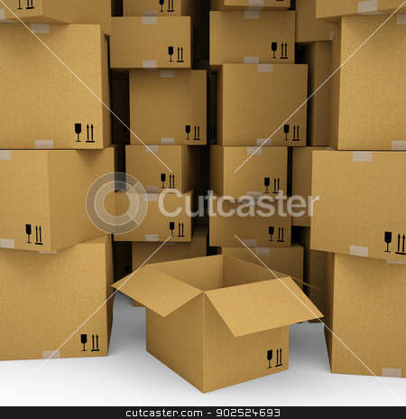 Cardboard boxes stock photo, Cardboard boxes. Isolated render on a white background by cherezoff