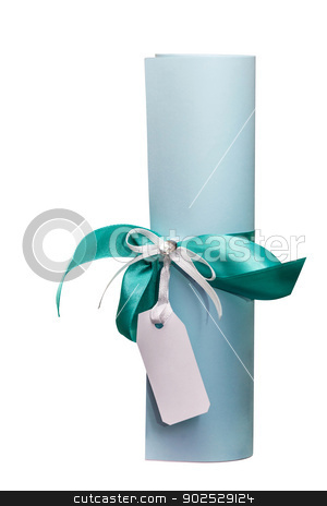 Personal invitation stock photo, Scroll, tied with a ribbon with a white tag. It is possible to insert the name or other text. by fogen