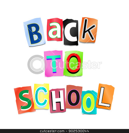 Back to school. stock photo, Illustration depicting cutout printed letters arranged to form the words back to school. by Samantha Craddock