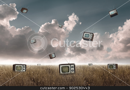 Television falling stock photo, Many television falling to the sky in a meadow by Giordano Aita
