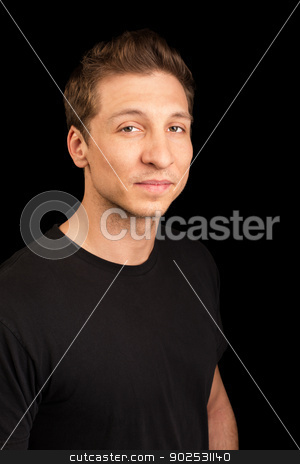 Adult Male in Black stock photo, Cute European adult male in black shirt by Scott Griessel