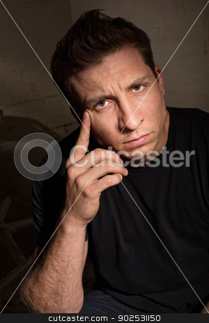 Serious Man in Black stock photo, Serious European adult male in black shirt by Scott Griessel