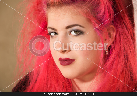 Confident Teen with Pink Hair stock photo, Close up of pretty punk girl in pink hair by Scott Griessel