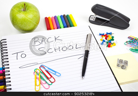 Back To School stock photo, Stationery and school notebook. by Chris Dorney