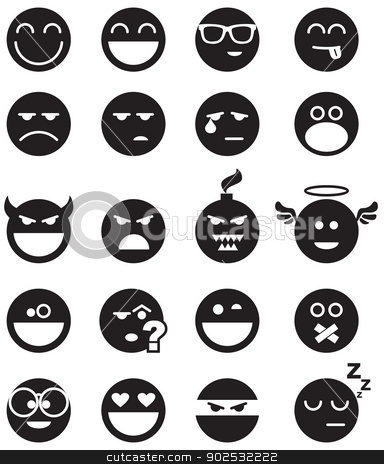 black smiles stock vector clipart, Vector basic set of simple smiles. No blends, gradients and strokes.  by busja